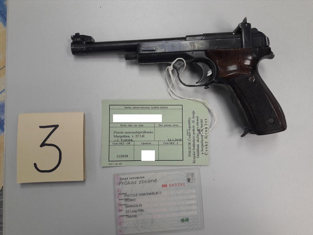 Pistole samonabíjecí RUSKO MARGOLIN, ráže 22 Long Rifle, výr. č. TA810K, zbraň kategorie B
