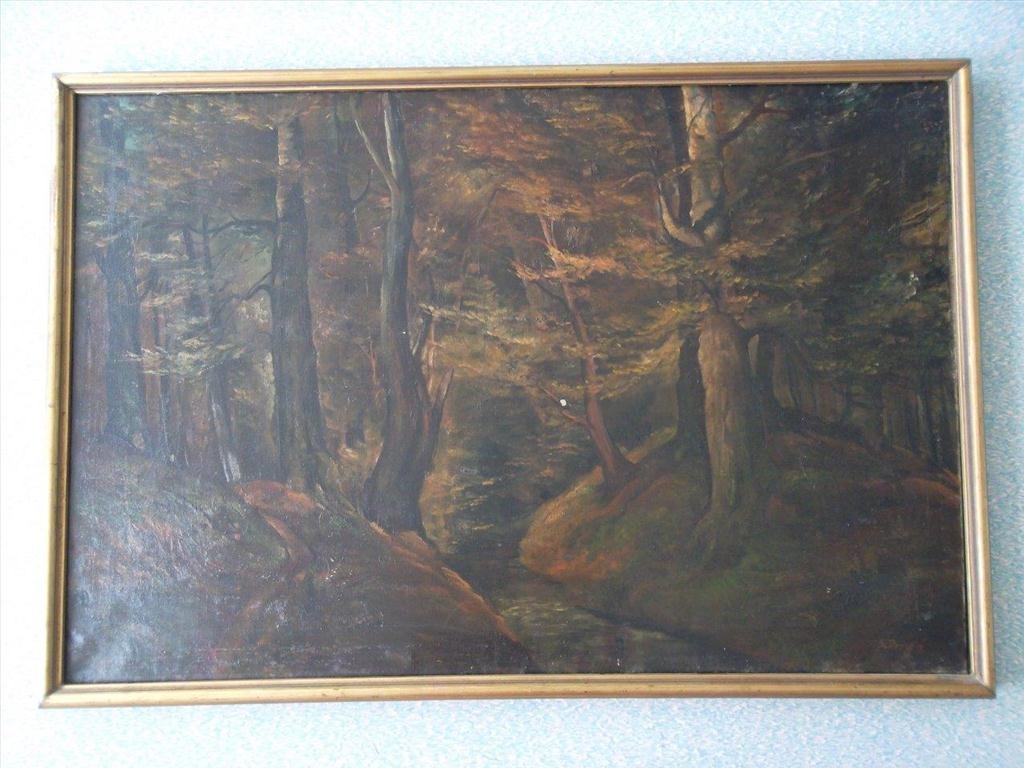 movitá věc (obraz), Bohumil Dvorský; motiv: lesní úvoz s pěšinou a potokem